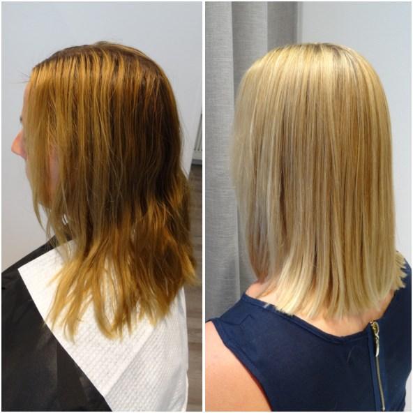 Från orange- grönt hår till en snygg blond hårfärg