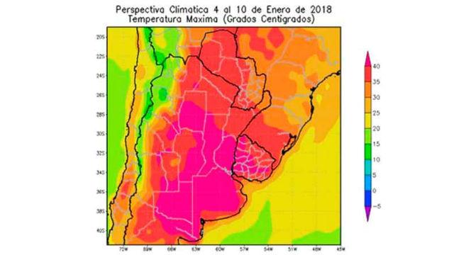 Entre Ríos, en la parte remarcada con temperaturas elevadas