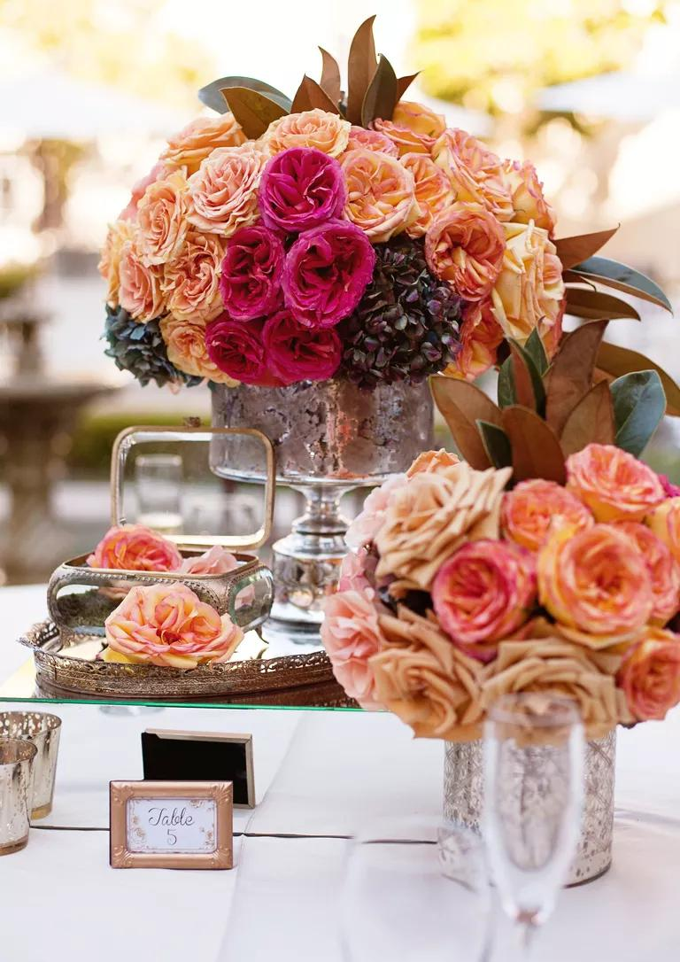 top 10 wedding flowers wedding flower arrangements Assorted pink and peach garden roses