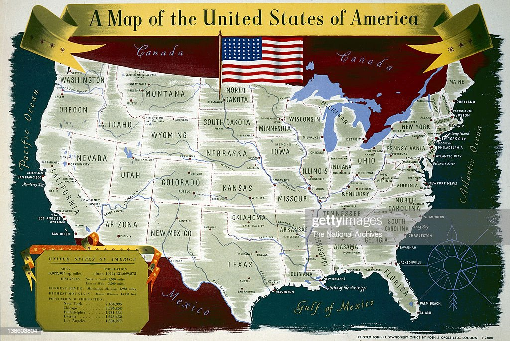 A Map of the United States of America Pictures   Getty Images USA map 1940 1945