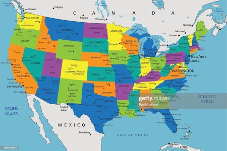 colorful united states of america political map vector art