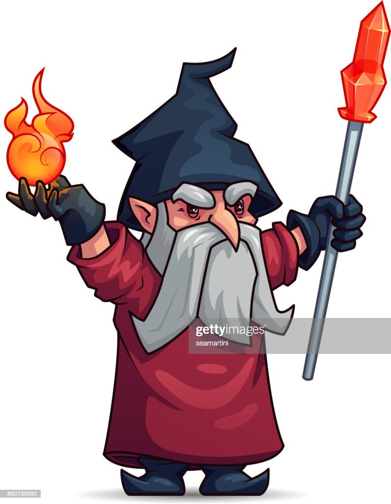 Old Wizard Sorcerer Or Magician Cartoon Character Vector Art     Old wizard  sorcerer or magician cartoon character   Vector Art