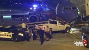 Nebraska man arrested for jumping airport fence, crashing truck into jumbo jet