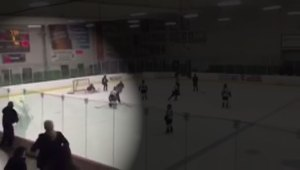 Hockey Dad smashes glass during girls hockey tournament