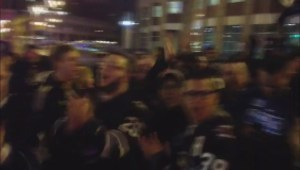 Winnipeg Jets fans cheer their team at Portage and Main