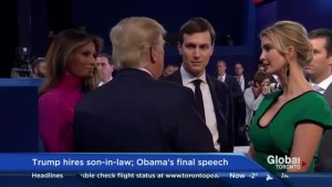 Donald Trump names son in law as senior advisor as Obama gets ready to say goodbye