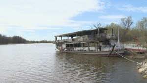 Aftermath of damage to Paddlewheel Princess after massive fire