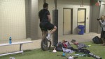 RAW: Geoff Gray rides unicycle following pro day