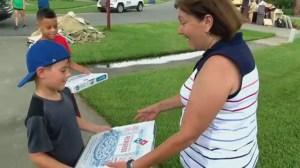 Nine-year-old birthday boy distributes 363 pizzas to Louisiana flooding victims