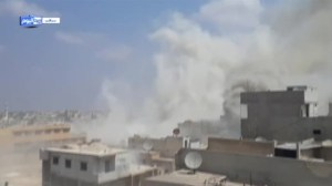 Video purporting to show barrel bomb attack in Syria