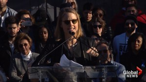 Jodie Foster among about a thousand people in rally against President Trump in Beverley Hills