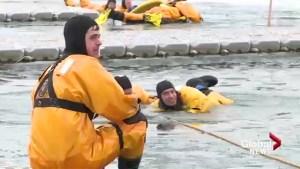 Annual Ice Rescue Training in Lethbridge