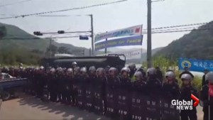 Protests erupt in South Korea as defence system is being installed
