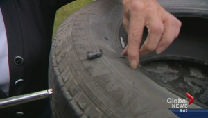 Blown tire from road side debris