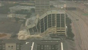 Aerial footage of old Xerox building imploding