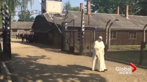 Pope Francis takes silent walk through the gates of Auschwitz