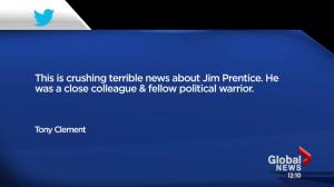 Shock, grief, and condolences pouring in from Canadian political world following the news of Jim Prentice's death