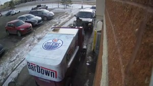 Raw: Security video of Zamboni at Tim's drive-thru