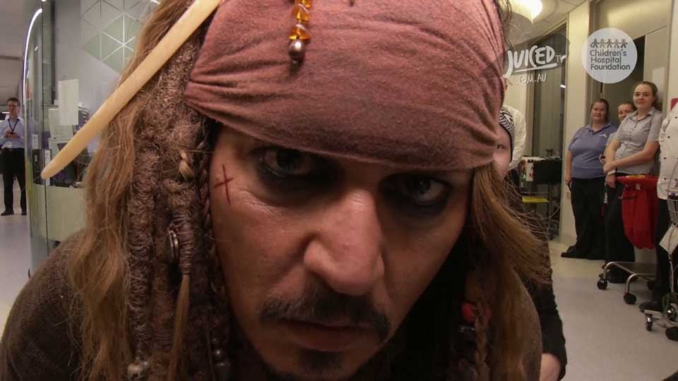 Johnny Depp meets Vancouver patients dressed as Capt. Jack Sparrow