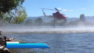 Knox Mountain fire helicopter bucketing