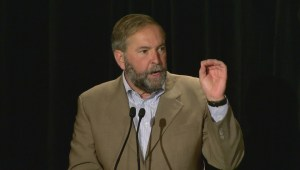 Mulcair addresses NDP supporters as party unveils campaign slogan