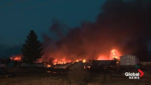 Raw Video: Massive fire consumes buildings on acreage near Beaumont