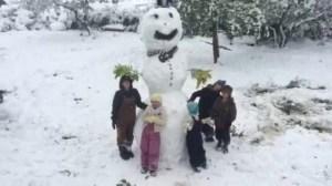 Australian kids play in snow