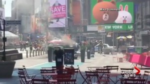 Video shows Times Square car go up in flames