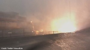 Dramatic video posted to Twitter purports to show train station electrical fire in Chicago during severe thunderstorm