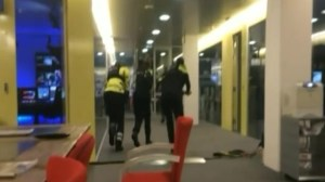 Alternate view of Dutch police storming TV studio