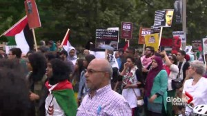 Hundreds of Israeli and Palestinian supporters faced off at Queen's Park