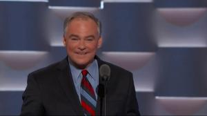 TIm Kaine makes Donald Trump 'believe me' tax joke during Democratic National Convention