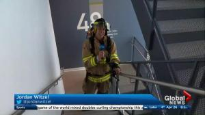 Jordan Witzel climbs 55 flights of stairs at the Bow Building