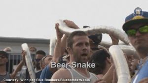 """Winnipeg Blue Bombers parody Hinterland Who's Who with """"beer snake"""""""