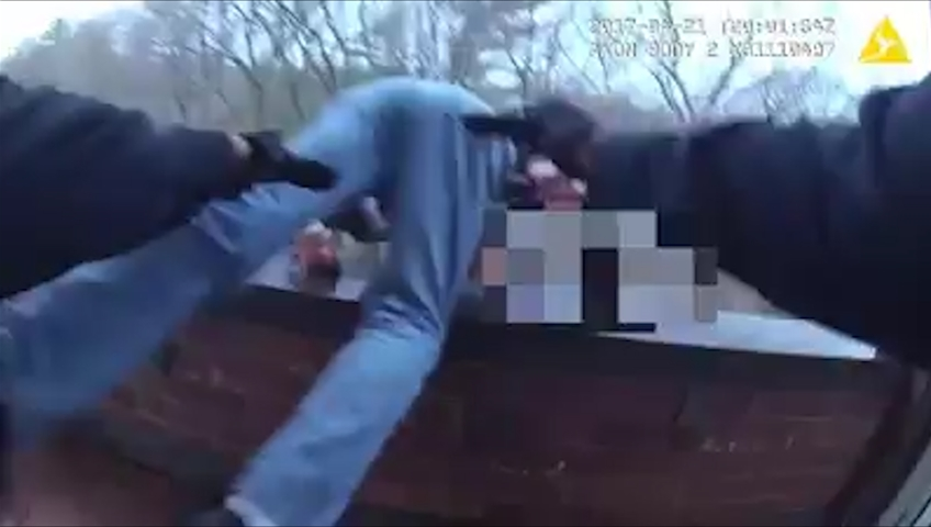 Man About to Jump Grabbed by Hamden Officer
