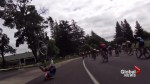 Cyclist gets hit by a rogue drone