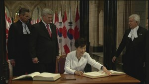 South Korea's Park Geun-hye officially welcomed in Ottawa