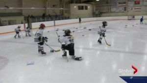 Calgary atom hockey team holds toss game of their own