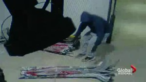 Hockey stick heist caught on camera