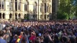 Hundreds chant, cheer 'Manchester' to pay tribute to concert-goers
