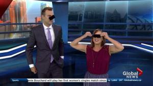 Leslie Horton and Jordan Witzel try to make eclipse glasses