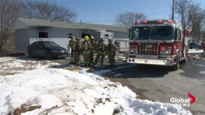 A Dartmouth homeowner says his mini home caught fire after he tried to thaw his frozen pipes.