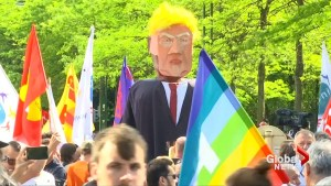 Thousands protest against Trump in Brussels