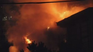 Large apartment fire in Surrey