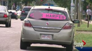Car with 'F–k Harper' sign spotted in Edmonton
