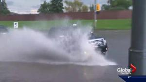 Shallow puddle causes big damage for one Calgary driver