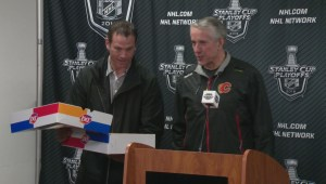 Flames head coach Bob Hartley suprised with ice cream cake