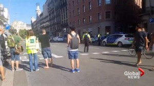 Witness says they mistook police response to Barcelona van incident for a famous celebrity