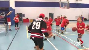 Stanley Cup Champion Marc Andre Fleury in Saint John for sports day with kids