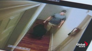 The jury in the first-degree murder trial of William Sandeson sees video evidence of Taylor Samson entering his apartment.
